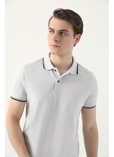 D'S Damat Slim Fit Pike Dokulu T-Shirt Taş